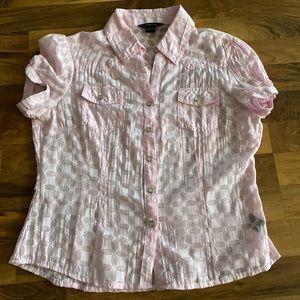 Pink button down short sleeve